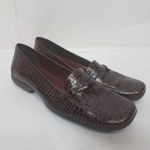 Michelle d leather brown crocodile print loafers